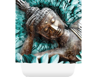 Blue Floral Buddha Shower Curtain - Blue and Brown Buddhist Bath Curtain - Zen Bathroom Decor - Mind Bloom by artist Christopher Beikmann