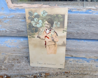 Vintage Antique 1900/1910 French real recolored photography postcard boy with  bouquet