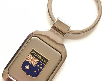 Personalised Australia Enamel Crested Key Ring + Pouch (T982)