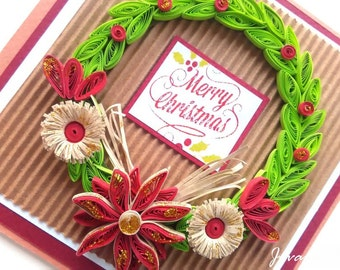 Quilling Christmas card/ Christmas card/ Noel/ Christmas wreath/ Merry Christmas/ Holidays/ Red/ 3D card/ Handmade/ Christmas gift/ Xmas
