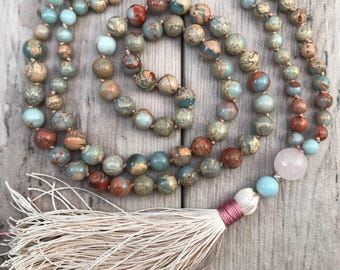 African Opal and Rose Quartz Mala Bead Necklace/108 Mala Beads/Mala Necklace/Silk Tassel/Hand-Knotted/Gemstone Mala/Boho Tassel Necklace