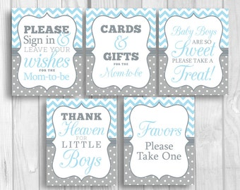 SALE Light Blue Gray 8x10 Printable Boy's Baby Shower Sign Bundle - Guest Book, Gift Table, Favor Table, Candy Buffet, Etc Instant Download