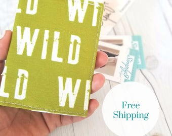 Wild Wallet, Olive Green Wallet, Small Wallet, Small Women Wallet, Business Card Wallet, Credit Card Wallet, Credit Card Case, Gift Idea