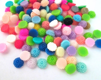 Assorted 10mm Mum Cabochons, Multicolor round chrysanthemum Flower Cabs