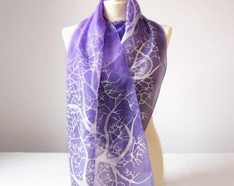 Purple scarf 'Purple sky White Tree' - purple scarves - purple silk scarf - hand painted silk scarf violet - scarf Habotai silk