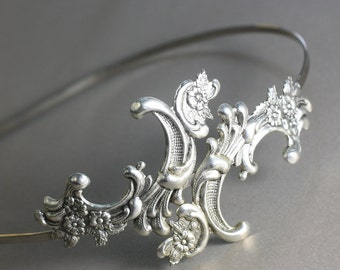 Antique bridal headband silver French ornate glamour metal head piece