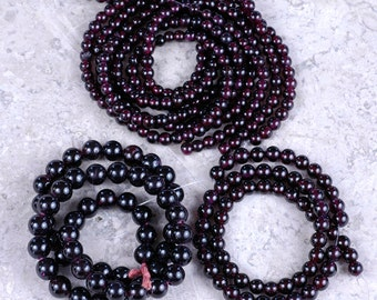 Deep Red GARNET round gemstone beads 5 strand LOT 8mm / 6mm / 5mm Designer DESTASH!