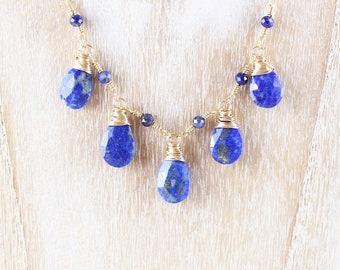 Lapis Lazuli & Gold Filled Bib Necklace. Navy Blue Gemstone Bead Necklace. Wire Wrapped Boho Statement Jewelry. Bohemian Layering Jewellery