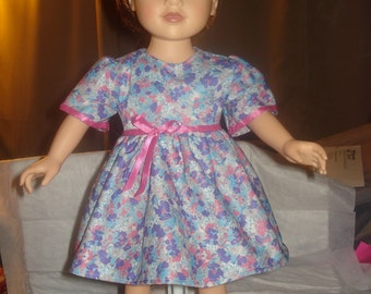 Pretty blue, pink & purple floral dress for 18 inch Dolls - ag222