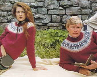 Family Sweaters/9 Sizes/ Vintage Knitting Patterns/Instant PDF Digital Download Vintage Knitting Pattern – A128