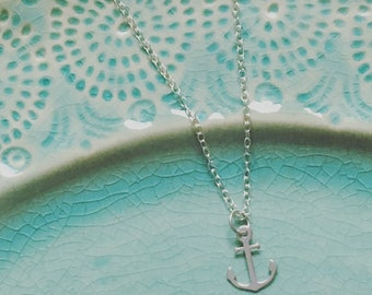 Silver Anchor Necklace - Solid Sterling 925 Small Anchor Charm Nautical Travel Sailor Wanderlust