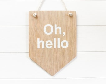 Oh Hello Wall Banner.  Wooden Door Sign, Wall Art, Dorm Decor, Home Decor , Funny Wooden Sign Gift