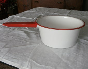 Vintage Red and White Enamel Pan