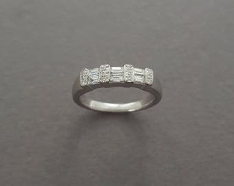 CLOSING SALE // Vintage 14K White Gold, Mixed Diamond Baguette and Round Cut Ring - Wedding / Anniversary Band