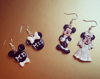 Disney Mickey and Minnie Wedding Earrings