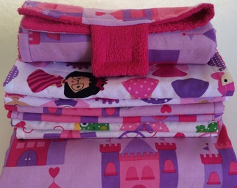 Pink Princes Castle Package Deal - Nap Blanket, Set of 6 Burp Cloths, and a Portable Diaper changer