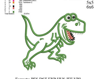 Funny t-rex dinosaur applique embroidery Design,Dinosaur embroidery pattern No 551 ... 3 sizes
