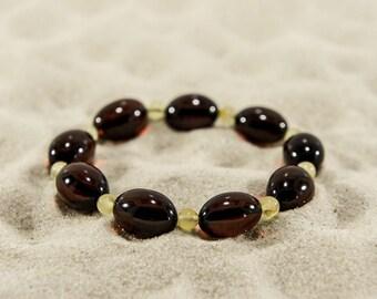 Amber bracelet, cherry elliptical and butter round natural amber bead bracelet 4936