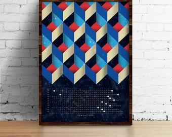 Moon Calendar 2018, Wall Calendar 2018 - Geo abstract pattern calendar A3, A3+, A2 - calendar print - art print - wall art - home decor