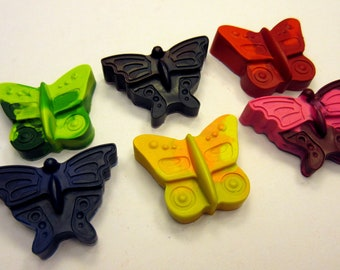 Set of 6 Colorful Butterfly Crayons