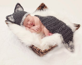 Baby WOLF Hat and Cape PHOTO Prop - Boy - Girl - Reborn Doll - Made to ORDER- Cocoon - Gray White - Any Colors