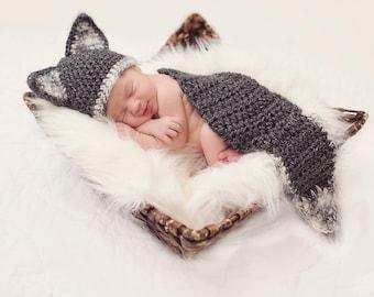 Bébé loup chapeau et Cape PHOTO Prop - garçon - fille - poupée Reborn - fait sur commande - Cocoon - gris blanc - toutes les couleurs