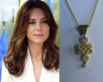Kate Middleton Duchess of Cambridge Inspired Replikate Bhutan Yellow Gold Crystal CZ Eternal Infinity Endless Knot Pendant Necklace