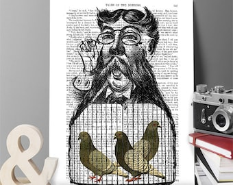Pigeon Fancier - mustache art pigeon print pigeon picture pigeon illustration racing pigeon pigeon art bird art print funny poster gift