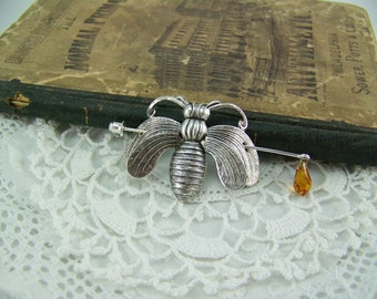 Honeybee Pin, Shawl Pin, Scarf Pin, Sweater Pin, Silver Brooch, Honeybee Brooch, Silver Bee Pin, Stick Pin, Honeybee Stick Pin, Topaz Drop