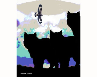 Pack of Wolves, Wolf Silhouette Art,  Native American Totem Animal, Southwestern Home Decor, Digital Wall Hanging, Giclee Print, 8 x 10