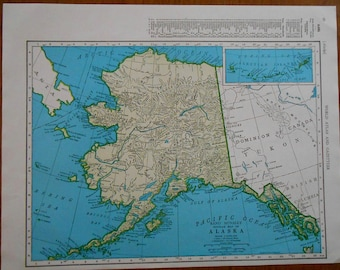 Vintage Alaska Map, 1947 US State atlas map. old maps for wall art