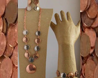 Copper penny and dime necklace set