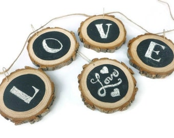 Chalkboard Wood Slices - Wood Slice Garland - Wood Slice Ornament - Chalkboard Wood Tags - Chalk Wood Slice - Rustic Wedding - Tree Slices