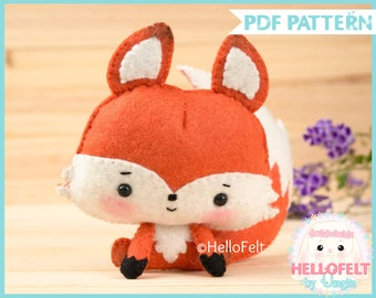 PDF Pattern, Woodland Series: Fox, Felt Animal Pattern, Felt plush.