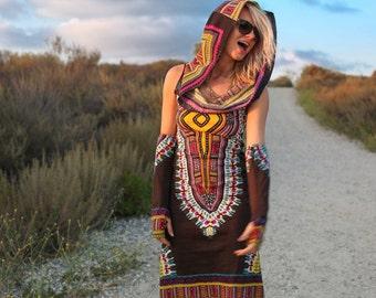 Day Tripper Hoodie Dress Enchanted Brown, Festival Clothing, Festival Dress, Tribal, Tribal Dress, Hippie, Hoodie Dress