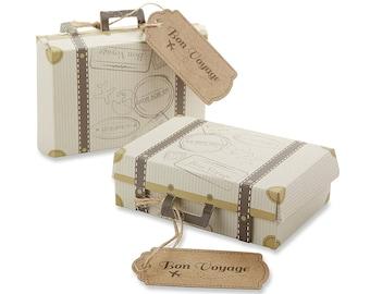 Suitcase Favor Boxes Set of 24 Vintage BON VOYAGE Suitcase Party Favors wedding Favor Boxes