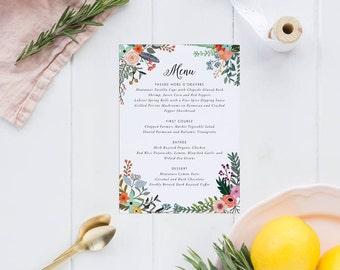 Printable Wedding Menu Printable - Floral Wedding Menu Download - Ready to Print PDF - Printable Menu - Letter or A4 Size (Item code: P047)