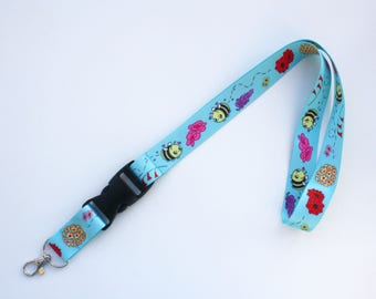 Happy Bees Lanyard ID Badge Holder - Lobster Clasp and Clip