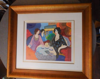 Itzchak Tarkay, listed  artist, pastel and watercolor painting