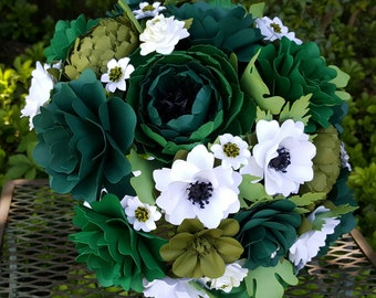 Paper Bouquet - Paper Flower Bouquet - Wedding Bouquet - Shades of Green - Custom Made - Any Color