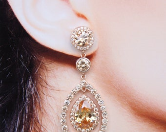 Bridal Earrings Rose Gold Champagne Teardrop Wedding Earrings Diamante Pear Drop Best Bridal Earrings