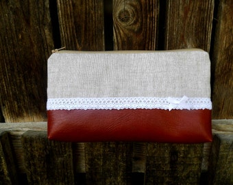 Linen and lace autumn clutch, cosmetic bag, purse, make up bag warm colours READY TO SHIP!