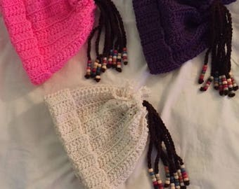 Hand Crochet Childrens Beanie Hat with Beaded Ponytail Braids-BRIGHT PINK