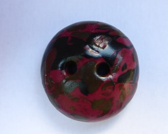 1 large round button domed polymer clay Burgundy mottling background black khaki