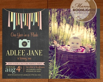One Year in A Flash Birthday Party Printable Photo Invitation - DIY - First Birthday Invite - Chalkboard Camera Ribbons