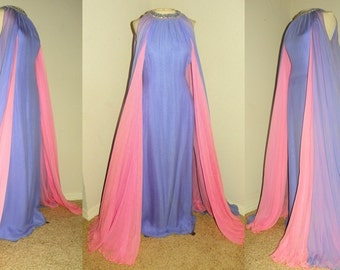Vintage 60's COUTURE Pink And Purple Silk CHIFFON Grecian Draped Party Dress Vintage 60's Runway BEADED Rhinestone Goddess Cocktail Dress