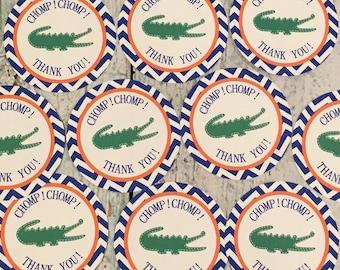 PREPPY CHEVRON ALLIGATOR Birthday Party Favor Tags or Stickers 12 {One Dozen} Blue Green Florida Gators