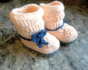Baby Slouch Booties Peach Crochet Booties 6 Month Size Baby Shoes Ugg Style