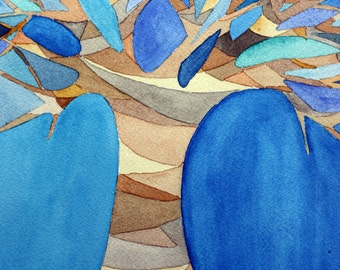 Abstract tree, original watercolor, blues and browns, nature, branches, shapes, colorful, autumn, fall