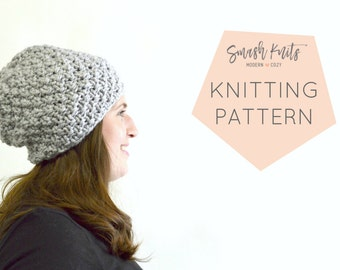 Instant Download Knitting Pattern - Womens Hat Pattern - Knit Slouch Hat Pattern - Slouch Hat Pattern  Unisex Hat Pattern Knit Hat Pattern